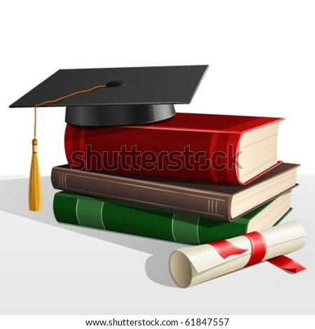 A Graduation mortar on top of books - stock vector