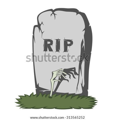 A gray gravestone with grass and RIP text and scary fingers from the grave - stock vector
