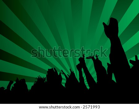 A green abstract background with a silhouette crowd