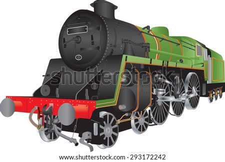 A Green and Black Steam Passenger Locomotive isolated on white
