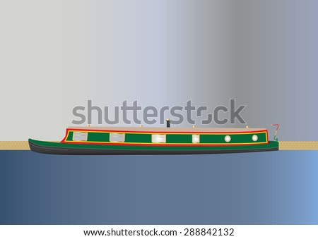 A Green and Red Narrow boat or barge