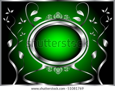 A green and silver floral design with room for text on a rich green  background - stock vector