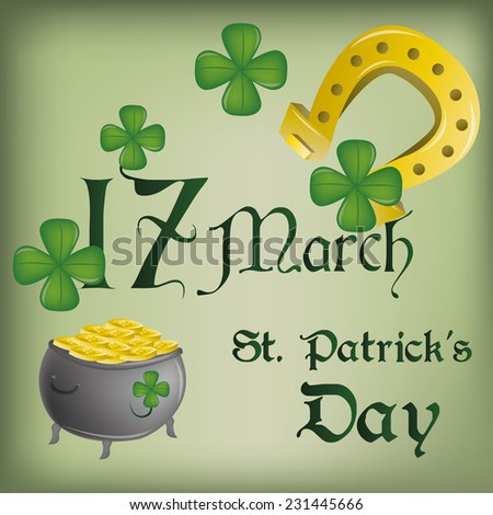 a green background with clovers, a money pot, a horseshoe and text