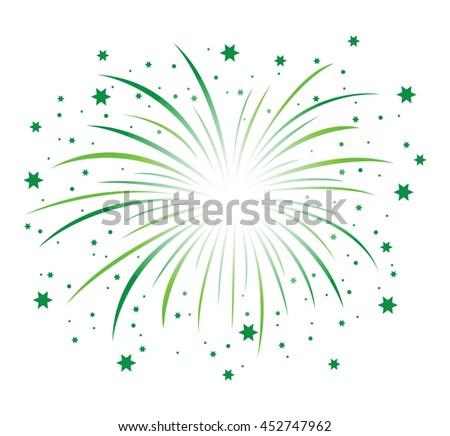 a green firework background - stock vector