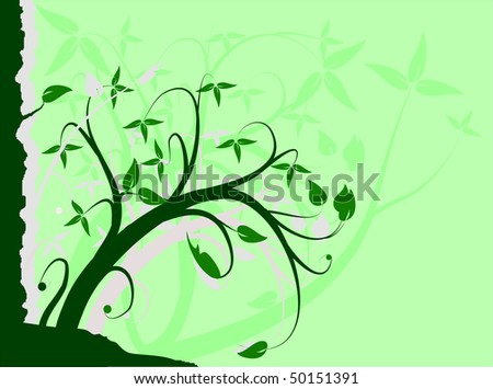 A green floral background vector illustration with room for text - stock vector