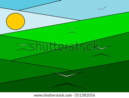 A green meadow and the flying white birds against the blue sky and the sun - stock vector
