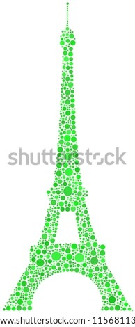 A green mosaic of the Eiffel Tower in Paris (France) - stock vector