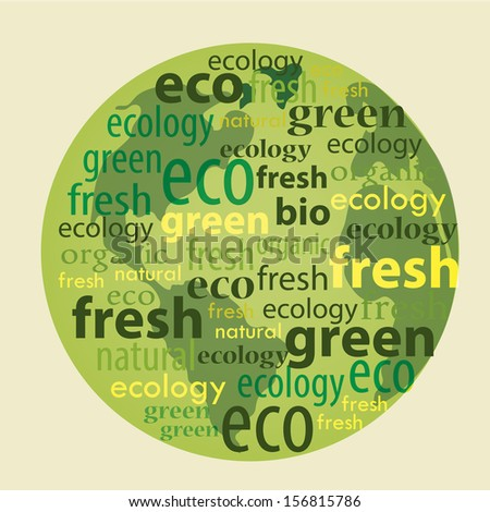 a green planet composed by green and yellow words - stock vector