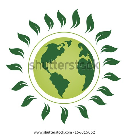 a green planet with a lot of green leafs around it - stock vector