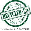 A Green 'Recycled' Rubber Stamp Illustration - stock vector