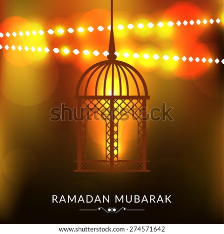 A greeting card template- 'Ramadan Kareem' with Arabic lamp or lantern on shiny golden background - stock vector