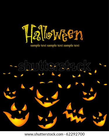 A grinning crowd of Jack O Lantern. Vector illustration. - stock vector