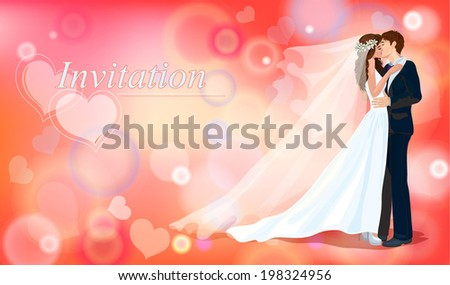 A groom and fiancee kiss each other. Invitation on wedding. Postal. Banner.  - stock vector