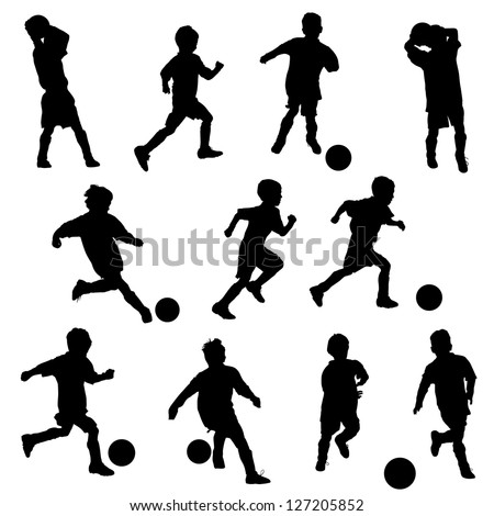 A group of boys in silhouettes playing soccer or football - stock vector