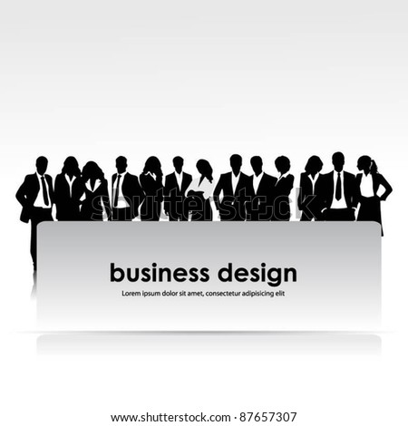a group of business people with banner-vector
