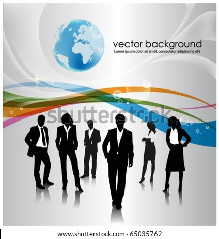 a group of business people with globe - stock vector