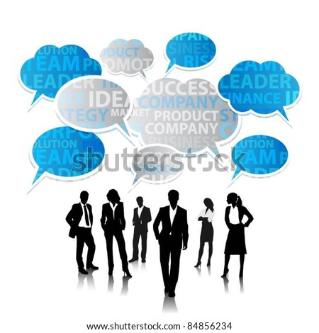 a group of business people with speech bubbles