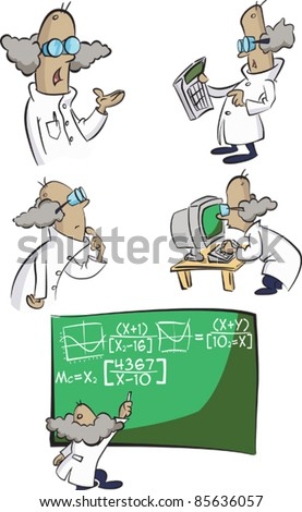 A group of cartoon science nerd characters in lab coats attempt to calculate everything!  Out lines over colour shapes. Each character individually grouped with the chalk board a separate group. - stock vector