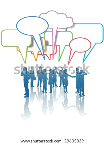 A group of Communication Network Social Media Business People talk in colorful speech bubbles. - stock vector