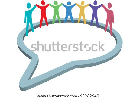 A group of diverse social media people gather inside a network speech bubble holding hands up. - stock vector