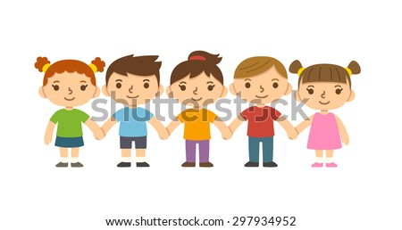 a group of five cute smiling preschool children holding hands isolated on white background