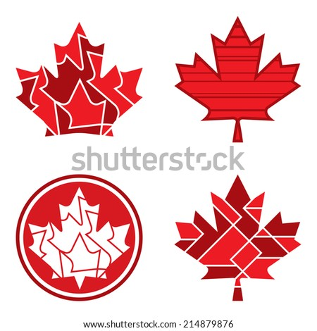 A group of geometric Canadian maple leaf designs in vector format. - stock vector
