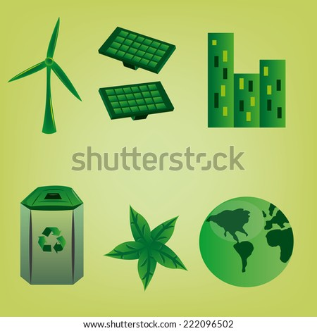 a group of green icons on a green background - stock vector