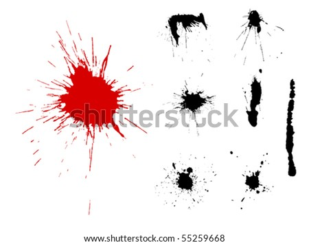 A group of grunge blot silhouettes for design - stock vector