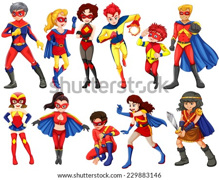 A group of heroes of male and female on a white background  - stock vector