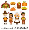A group of kids - Indians and Pilgrims - sharing food for Thanksgiving - stock vector