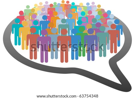 A group of many social media people crowd inside a speech bubble network - stock vector