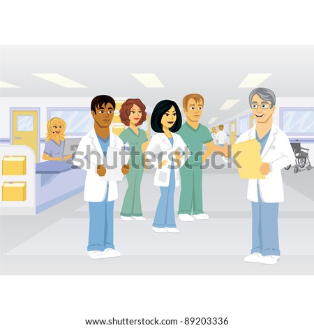 A group of medical  professionals in a hospital setting. - stock vector