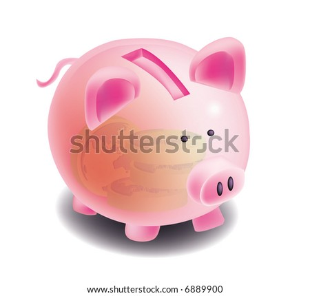 A group of objects for piggy bank, globe coins, finances.