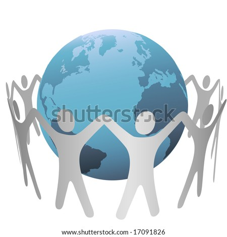A group of people circle around a globe of planet Earth, form a chain, hold up their hands. - stock vector