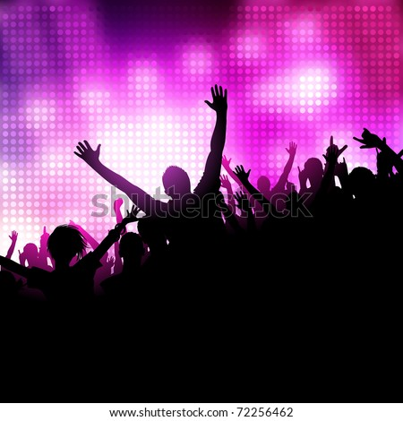 A group of people having a good time. Crowd infront of a stage. Vector - stock vector