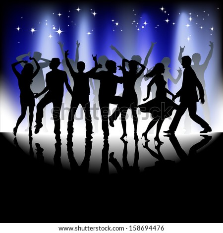 A group of people having a good time in disco. Crowd in-front of a stage. Vector  - stock vector