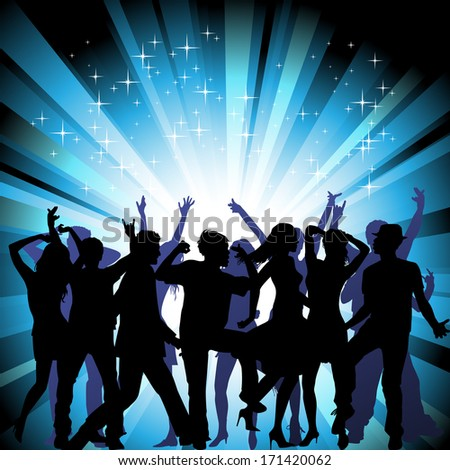 A group of people having a good time in disco. Crowd in front of a stage. Vector  - stock vector