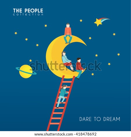 A Group of People Sitting on the Moon Conceptual Vector Design - stock vector