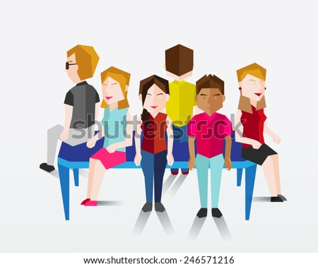 A Group of People Sitting Together Vector Illustration
