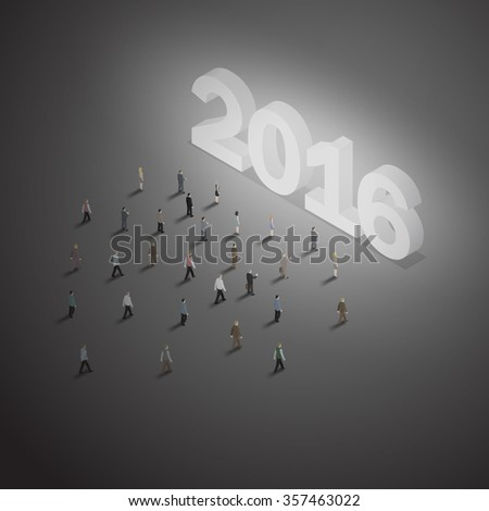 a group of people walking toward glowing year 2016 to celebrate new year festival.