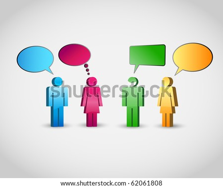 A group of pictogram are talking. - stock vector