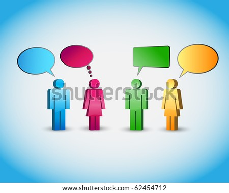 A group of pictogram are talking - finally vector background - stock vector