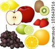 A group of seven different types of fruit: lemon, apple, kiwi, strawberry, lime, grape, & orange. Each isolated, & on individual layers. - stock vector