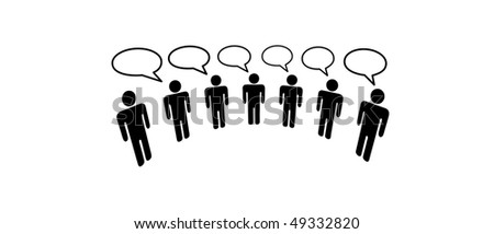 A group of Symbol People in a  Media Social Network connect to communicate and blog. - stock vector
