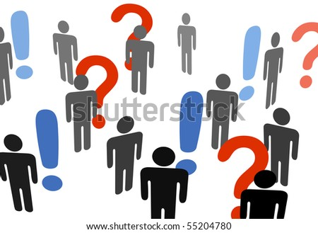 A group of symbol people search for information among exclamation question marks. - stock vector