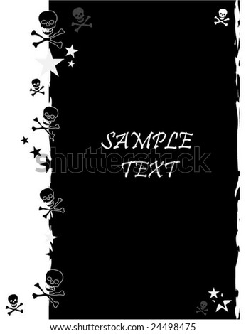 A grunge background in black and white with stars and skulls and space for text