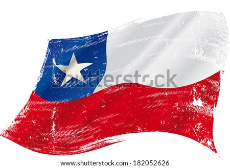 A grunge Chilean flag in the wind for you - stock vector