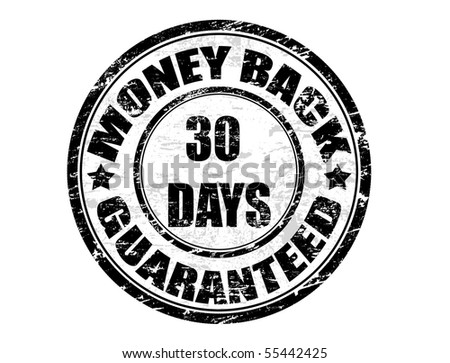 a grunge rubber ink stamp on white background: money back guaranteed 30 days - stock vector