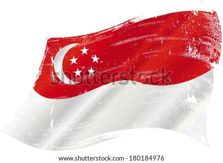 A grunge Singaporean flag for you - stock vector