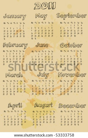 A grungy style 12 month calendar for 2011 - stock vector